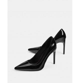 ince yüksek topuklu rugan ayakkabı