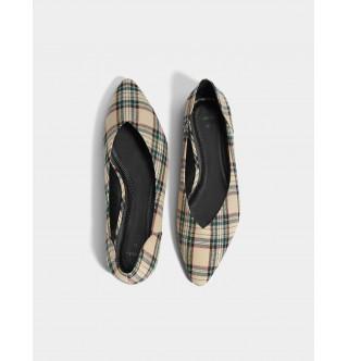 Kareli kumaş babet ayakkabı