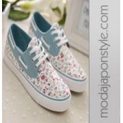 Japon Style Çiçek Desenli Spor Ayakkabı