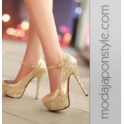 Japon Style Bayan Ayakkabı Yüksek Topuk