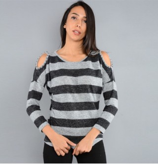 Japon Style Omuzu açık inci detay çizgili bluz