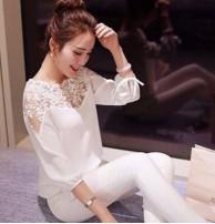 Japon Style Dantel Tül Detay Bluz