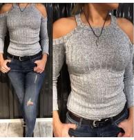 Japon Style Omuzu Açık Gri Bluz