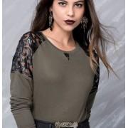 Japon Style Omuz Deri Tül Detaylı Bluz