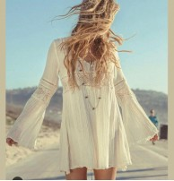 Japon Style Tunik Elbise Crep Kumaş