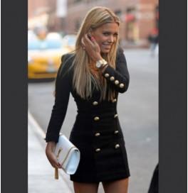 Japon Style Siyah Altın Düğme Elbise