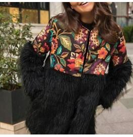 Japon Style Digital Baskılı Kürklü Ceket