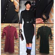 Victoria Beckham Apoletli Uzun Siyah Elbise