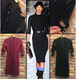 Apoletli Uzun Siyah Elbise