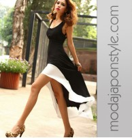Japon Style Asimetrik Kesim Elbise