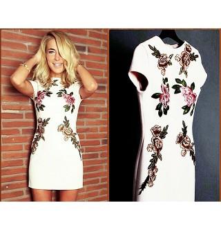 Burcu Esmersoy Çiçekli Elbise Dalgıç Kumaş