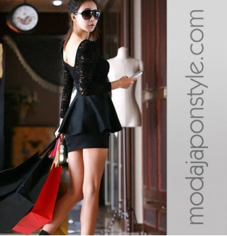 Japon Style Dantelli Mini Siyah Elbise