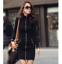 Japon Style Long Winter Zipper Elbise