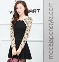 Japon Style Uzun Kollu Pileli Elbise
