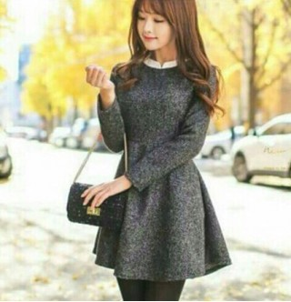 Japon Style Füme Mini Elbise