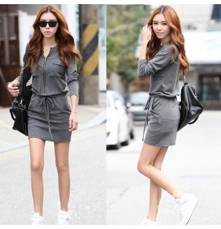 Japon Style Fermuarlı Elbise