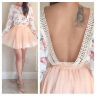 Japon Style Sırt Dekolte Elbise