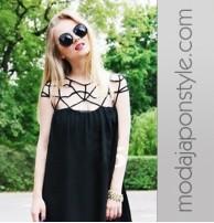 Japon Style Siyah Elbise
