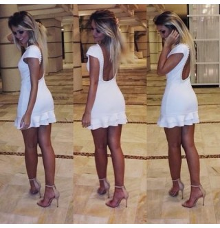 Japon Style Beyaz Super Mini Elbise