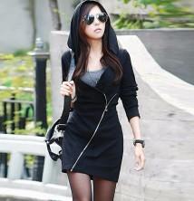 Japon Style Kapşonlu Elbise