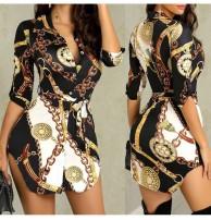 Japon Style Dekolte Mor Elbise