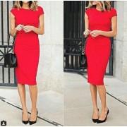 Kalem Elbise Kırmızı Diz Altı Elbise
