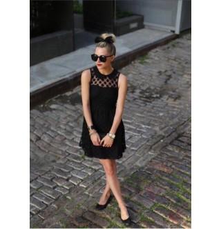 Kore Giyim Puanlı Siyah Elbise