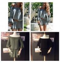 Mini Elbise Japon Style Haki Renk