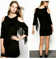 Siyah Elbise Püsküllü Mini Elbise