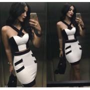 Siyah Beyaz Elbise Büstiyer Etek
