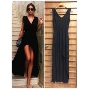 Siyah Uzun Yırtmaçlı Elbise