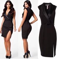 Siyah Yırtmaçlı Elbise