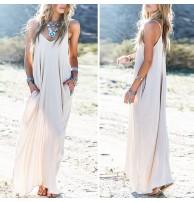 Yazlık Uzun Beyaz Maxi Elbise