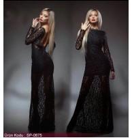 Japon Style Dantel Elbise Siyah