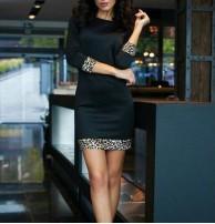 Japon Style Leopar Siyah Mini Elbise