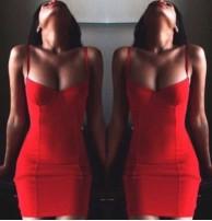 Japon Style Kırmızı Mini Elbise