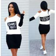 Japon Style Siyah Beyaz Triko Elbise