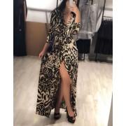 Japon Style Leopar Yırtmaçlı Uzun Elbise