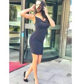 Japon Style Siyah Mini Simli Elbise