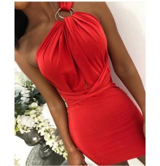 Mini kırmızı elbise, farklı bağlanabilen