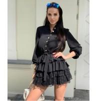 Kuşaklı Siyah Mini Elbise