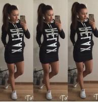 Relax Spor Kapşonlu Siyah Elbise