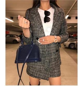 Japon Style Ekose Zarf Etek Ceket Takımı
