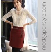 Japon Stil Dantel Fırfır Bluz