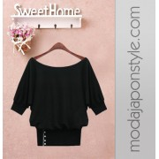 Japon Style Bluz Yarasa Kol