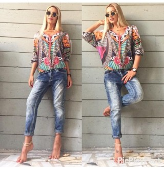 Japon Style Renkli Desenli Bluz
