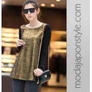 Japon Style Uzun Kollu Bluz Tshirt