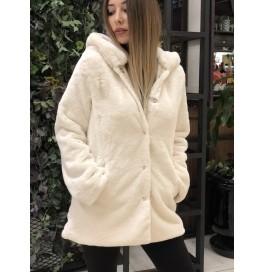 Japon Style Peluş Kürk Kaban Beyaz