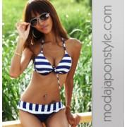 Japon Style Bikini Mavi Beyaz