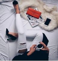 Japon Style Kot Pantolon Beyaz Fileli